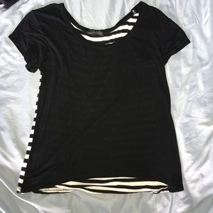 Tops - Black and white stripe back tee